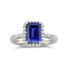 Lab-Created Blue & White Sapphire Ring