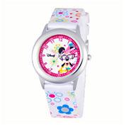 Disney Time Teacher Minnie Mouse Kids Floral Strap Watch