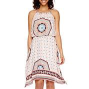 a.n.a® Sleeveless Blouson Print Handkerchief-Hem Dress