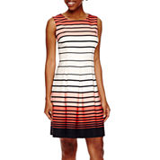 Studio 1® Sleeveless Graduated Stripe Fit-and-Flare Dress