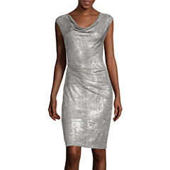Scarlett Metallic Drape Sheath Dress