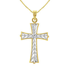 Majestique™ 18K Two-Tone Gold Reversible Cross Pendant Necklace