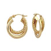 14K Yellow Gold 16mm Two-Row Hoop Earrings