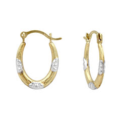 Girls 14K Two-Tone Gold Oval Hoop Earrings
