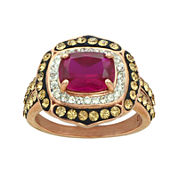 14K Rose Gold Over Silver Red Crystal Ring