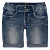 Vanilla Star® Denim Bermuda Shorts with Embellished Pockets - Girls 7-16 and Plus