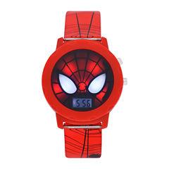 Spiderman Boys Red Strap Watch-Spd4421jc
