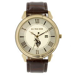 U.S. Polo Assn. Mens Brown Strap Watch-Usc50406