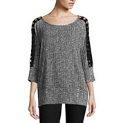 by&by Long Sleeve Round Neck Knit Blouse-Juniors Plus