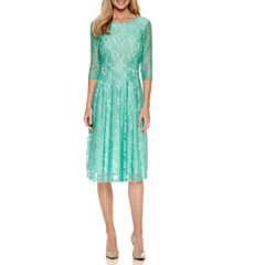 Signature by Sangria 3/4-Sleeve Lace Fit-and-Flare Dress