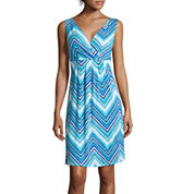 St. John's Bay® Sleeveless Chevron Print Surplice-Pleat Dress
