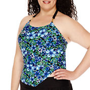 Delta Burke® Santorini High-Neck Loose Tankini Swim Top - Plus