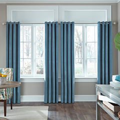JCP Home Made-To-Length Velvet Grommet-Top Poly-Cotton Lined Curtain Panel