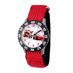Disney Cars Boys Red Strap Watch-Wds000027