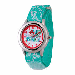 Disney The Little Mermaid Girls Green Strap Watch-Wds000045