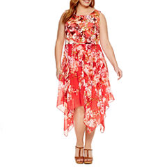 Robbie Bee Sleeveless Handkerchief Hem Floral Sheath Dress-Plus