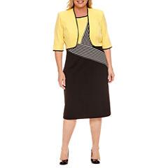 Maya Brooke 3/4 Sleeve Colorblock Stripe Jacket Dress-Plus