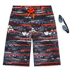 Zeroxposur Boys Deep Sea Stripe Swim Trunks-Big Kid