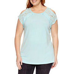 St. John's Bay Scoop Neck T-Shirt-Plus