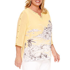 Alfred Dunner Seas The Day 3/4 Sleeve Split Crew Neck Woven Blouse-Plus