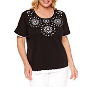 Alfred Dunner Lace It Up Short Sleeve Crew Neck T-Shirt-Plus