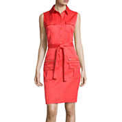 Sharagano Sleeveless Self-Tie Shirtdress