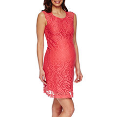 Maternity Cap-Sleeve Allover Medallion Lace Dress-Plus