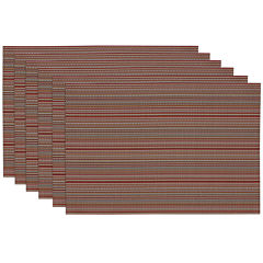 Design Imports Tango Red Micro Stripe Set of 6 Placemats