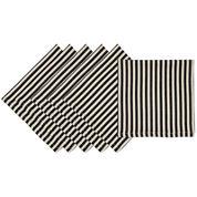 Design Imports Black Petite Stripe Set of 6 Napkins