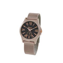 Geneva Platinum Womens Rose Goldtone Strap Watch-9477