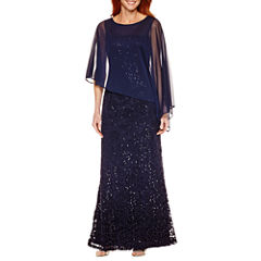 Onyx Nites Lace Cape Evening Gown
