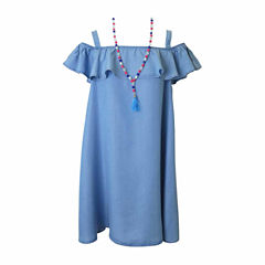 Lilt Cold Shoulder Chambray Dress with Necklace - Girls' 7-16