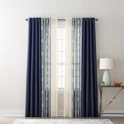 JCPenney Home Quinn, Batiste Paisley, U0026 Batiste Solid Sheer Grommet Top  Curtain Panels