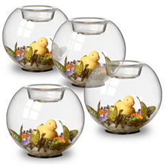 Set of Four Duckling Glass Candleholders