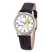 Disney Cardiff Womens Tinker Bell Brown Leather Watch