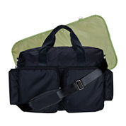 Trend Lab® Deluxe Duffle Diaper Bag-Black and Avocado Green