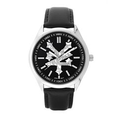 zoo york men s watches for jewelry watches jcpenney zoo york® mens all black leather strap watch