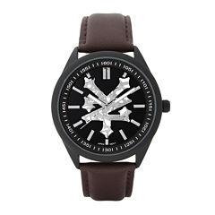 Zoo York® Mens Silvertone Black Dial Bracelet Watch