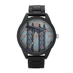 Zoo York® Mens Graphic Rose-Tone Black Bracelet Watch