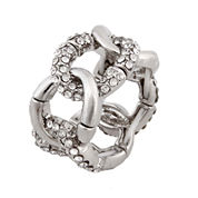 Mixit™ Silver-Tone Crystal Stone Stretch Ring