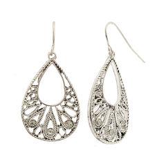 Decree® Silver-Tone Filigree Teardop Earrings
