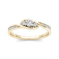 1/5 CT. T.W. Diamond 10K Yellow Gold 3-Stone Engagement Ring