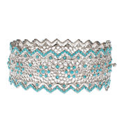 Jardin Blue Crystal Silver-Tone Pointed Edge Floral Hinged Cuff Bracelet