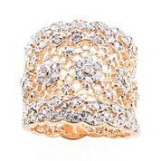 Jardin Rose-Tone Crystal Wide Floral Filigree Pave Ring