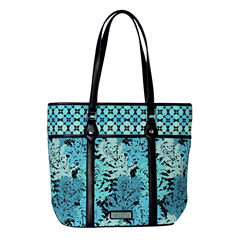 Waverly Blue Green Quilted Large Tote Bag