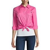 Us Polo Assn. Long Sleeve Button-Front Shirt-Juniors