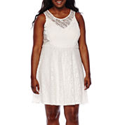 City Triangles® Sleeveless Lace Skater Dress - Juniors Plus