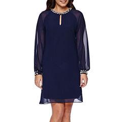 SL Fashions Long-Sleeve Pearl-Trim Shift Dress