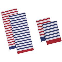 Design Imports Nautical Stripe Set of 4 Kitchen Towels and Dishcloths