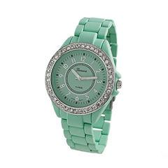 Geneva Platinum Womens Green Bracelet Watch-2260
